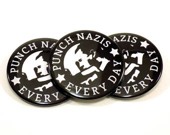 Punch Nazis Every Day - Neonazi Silhouette Design - Button or Magnet