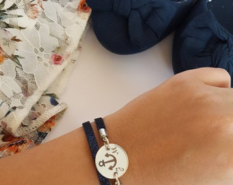 Personalized sparkly navy blue bracelet with anchor engraved charm