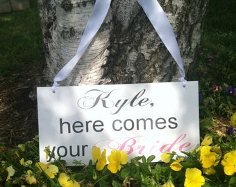 Here comes your bride And they lived happily ever after Ringbearer/Flowergirl Sign -- Wedding Signage  -  - Wedding Signs