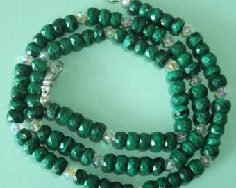Gemstone Jewelry Necklace - Malachite and Swarovski Crystal Gemstone Beaded Necklace