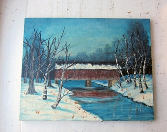 Vintage Oil Painting - Winter Covered Bridge