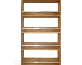 Solid Oak Spice Rack Contemporary Style 4 Shelves Freestanding or Wall Mounted Kitchen Storage