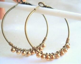 Beaded Gold Wire Wrapped Earrings Gold Brass Hoop Earrings Gold Jewelry Minimalist Jewelry