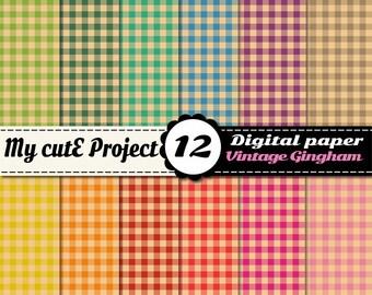 Digital paper Gingham Vintage | Digital Paper gingham | Scrapbook papers gingham | Digital paper vintage |  Scrapbook paper vintage | N325
