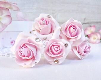 Rose Wedding Hair pins Flower bridal hairpins Pink Rose Hairpin wedding Rhinestone wedding hair pins Pink Hair pin Set Bridesmaid hair pins
