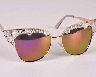 Custom sunglasses bling sunglasses-cute swarovski crystal sunglasses- women sunglasses- retro sunglasses- cateye sunglasses-vintage
