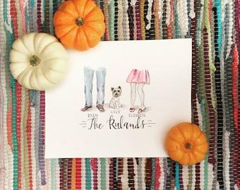 Custom illustration | Newlyweds and dog | Family names