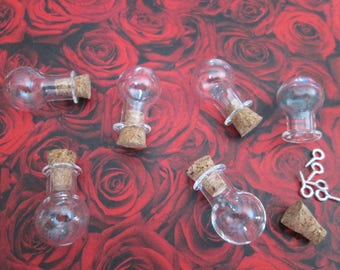 2 vials bubble glass 20 x 15 x 6 mm with screw-screw
