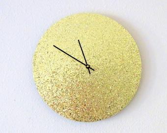 Glitter Wall Clock, Gold Glitter Decor, Home and Living, Decor & Housewares, Home Decor