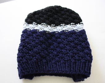Pebbled Knit Slouch Hat