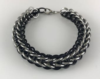 Black and Silver Full Persian Chainmaille  Bracelet