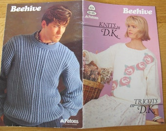 Patons Knits in DK Pattern Booklet / Beehive 474 / men and women's knitting patterns
