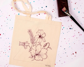 """Tote Bag """"Blossom"""" pattern hand drawn flowers"""