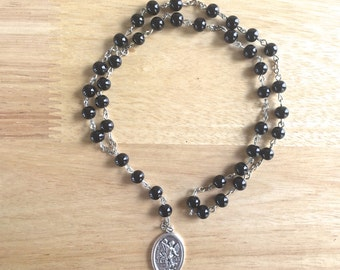 St. Michael Handmade Catholic Chaplet with Black Glass Pearl Beads