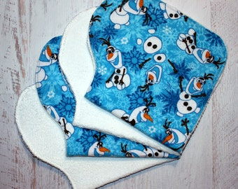 Burp Cloth Baby Shower Gift Set of Four Contoured Burp Cloths, Burp Rags, Gift for Baby Olaf from Frozen Flannel White Terry Cloth Absorbent
