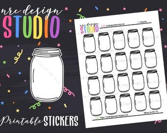 SALE Planner Stickers Printable, Mason Jar Planner Stickers - Mason Jars No. 07