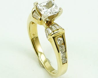 14K Yellow Gold Engagement Wedding Anniversary Ring, CZ Center Stone with 16-Side Diam Stone at 0.59 Cts.