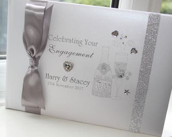 Personalised Handmade Engagement Party Guest Book by Charlotte Elisabeth GB031