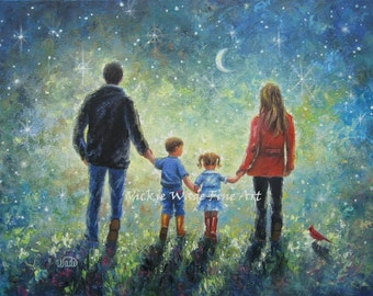 Family Art Print, Mom Dad Son Daughter evening walk, father, mother, brother, little sister, boy, girl, starry night, wall art, Vickie Wade