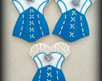 Bachelorette Bridal Shower Corset Bra Panty Lingerie Wedding Decorated Sugar Cookies