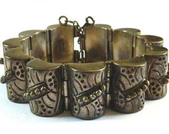 Vintage 1930s Mexican Sterling Silver Bracelet