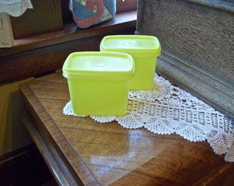 Yellow Tupperware Containers, Vintage Tupperware, Tupperware Shelf Savers, Tupperware Kitchen Storage Containers, Yellow Plastic Canisters