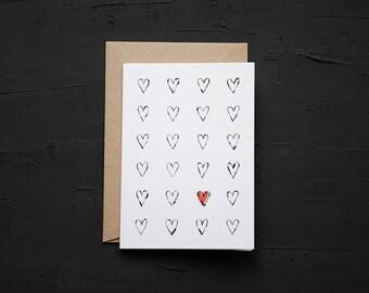 Hearts - Valentines Card - Love Card - Anniversary Card - Birthday Card - Note Card - Blank Card - Cards