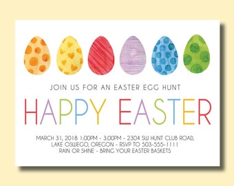 Happy Easter Invitation - Egg Hunt or Easter Brunch - Customized Printable Invitation