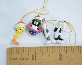 Tiny Itty Bitty Miniature Looney Tunes Christmas Tree Ornaments - Bugs Bunny, Marvin Martian, Tweety Bird, Sylvester Cat - Vintage Retro 90s