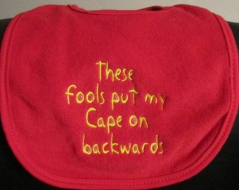 Embroidered Bib for Baby-Backwards Cape- RED/YELLOW