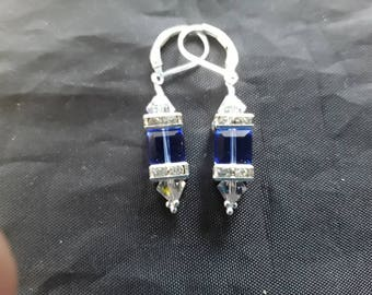 Beautiful Swarovski Crystal cube earings with leverback earings in sterling silver.