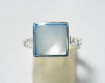 White Freshwater Pearl Ring Stick Pearl Designer Ring Handmade Sterling Silver Biwa Pearl Ring June Birthstone Ring size 8,4.80Gms#RN1479