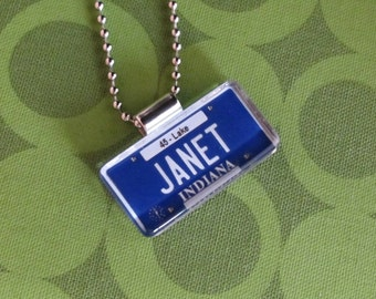 Personalized Indiana License Plate Pendant Necklace by PL8LINKS