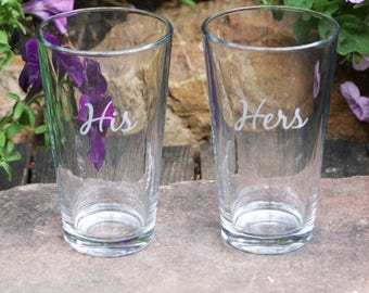 His and Hers Personalized Beer Glasses / Custom Engraved Beer Glasses / Etched Beer Glass / Wedding Gift / Custom Glassware / Set of 2
