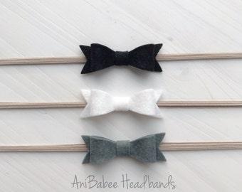 Felt Bow Headband Set, Baby Headband, Baby Bow Headband Set, Newborn  Headband, Felt Bow Headband, Bow headband set, Baby Bows, Infant Bows