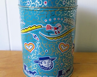 vintage blue Dutch candy tin