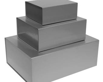 Silver Magnetic Gift Boxes available in 3 box sizes