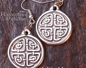 Celtic Harmony Knot Earrings - Pewter Pendant - Balance and Elemental Dance of Life Knotwork Jewelry