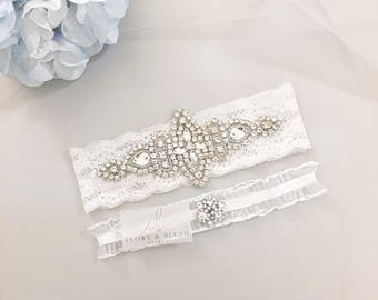 Wedding Garter WHITE - Bridal Garter Lace Garter Wedding Garter Set Something Blue Bridal Garter Set Rhinestone Garter - Style #W0317