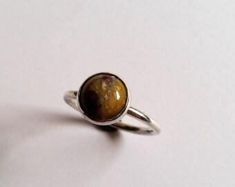 silver ring with Jasper Fancy 10 mm size 18.8