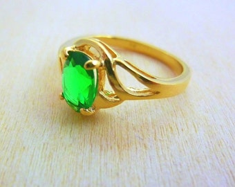 Emerald promise Ring gold ring 14K gold filled ring, gift for her, green stone, emerald gemstone birthstone ring