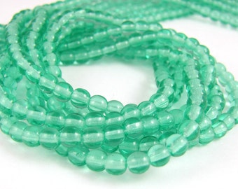 Cool Mint Green 4mm Smooth Round Czech Glass  Beads 100pc #357