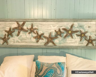 Wood School of Starfish and Jellyfish Wall Art or Headboard Sign Driftwood Colours Gold Leaf Beach  by CastawaysHall - Ready to Ship