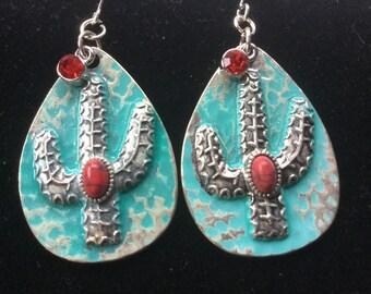 Blue cactus earrings