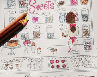 Sweet Shop Adult Coloring Page Candy Store Bake Shop Printable