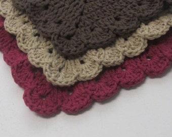 Cotton Washcloths Scallop Granny Square Dishcloths 3 set -Ready to Ship-