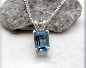 London Blue Topaz Necklace, Emerald Cut, Sterling Silver, Topaz Pendant, Gemstone Pendant, Birthstone Necklace, December Birthday