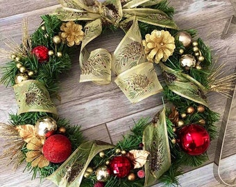Christmas Wreath - Gold & Red