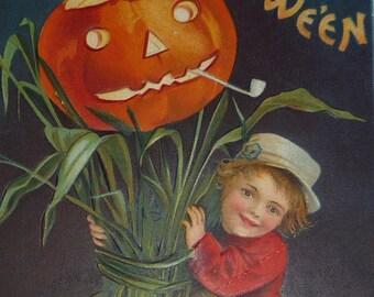 NEW Listing**A/S Ellen Clapsaddle Boy With Corn Shocks and Jack-O-Lantern Antique Halloween Postcard