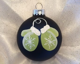 Dark Blue Handpainted Glass Christmas Ornament
